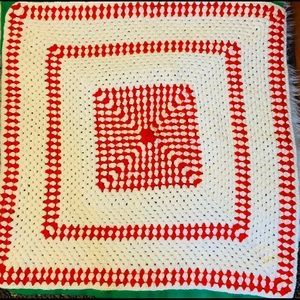 Other - 🌹Vintage Handmade White/Red Afghan🌹